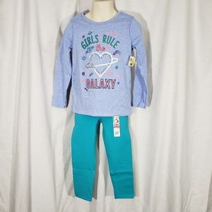 New 2 Piece Girls 4T Outfit Rule Galaxy Space Blue